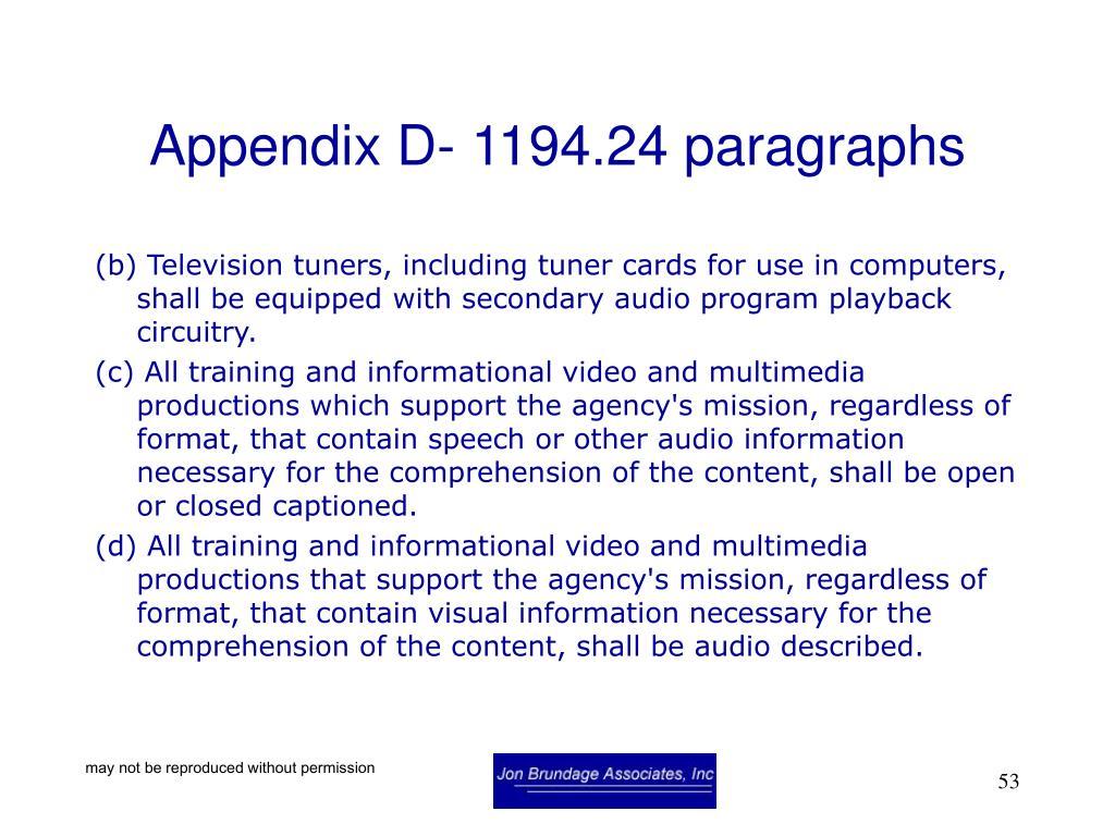 Appendix D- 1194.24 paragraphs