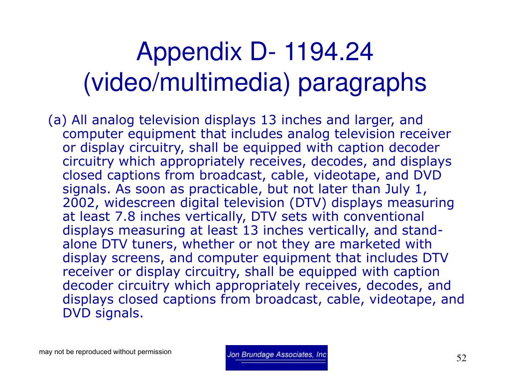 Appendix D- 1194.24 (video/multimedia) paragraphs