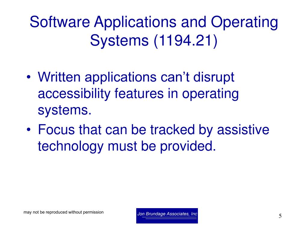 Software Applications and Operating Systems (1194.21)