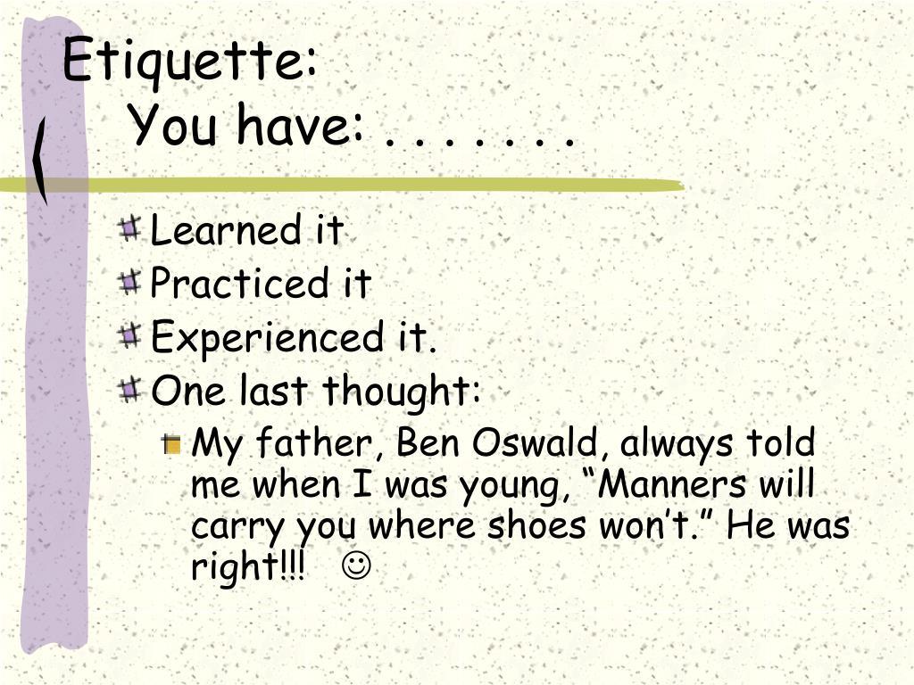 Etiquette: