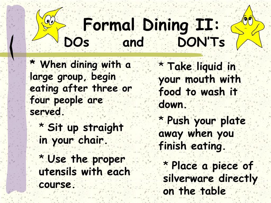 Formal Dining II: