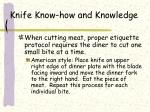 knife know how and knowledge