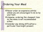 ordering your meal