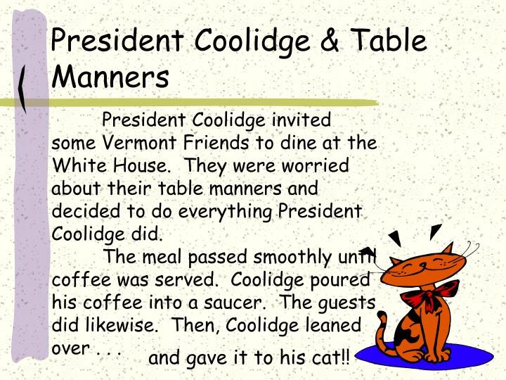 President coolidge table manners