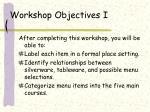 workshop objectives i