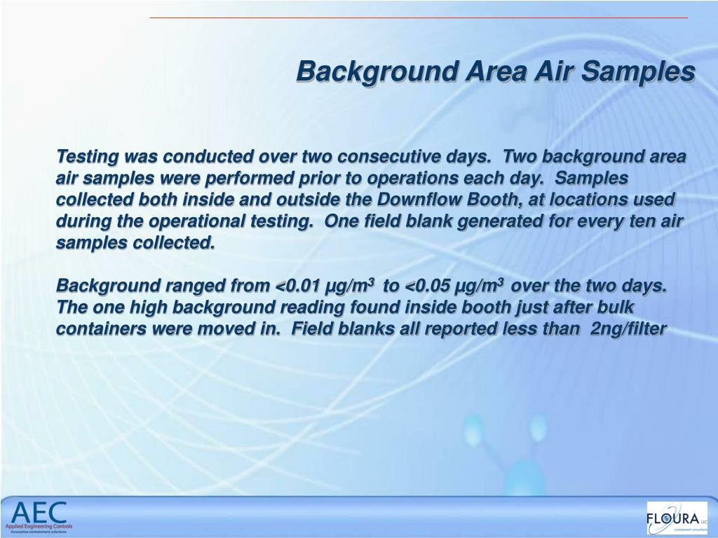 Background Area Air Samples