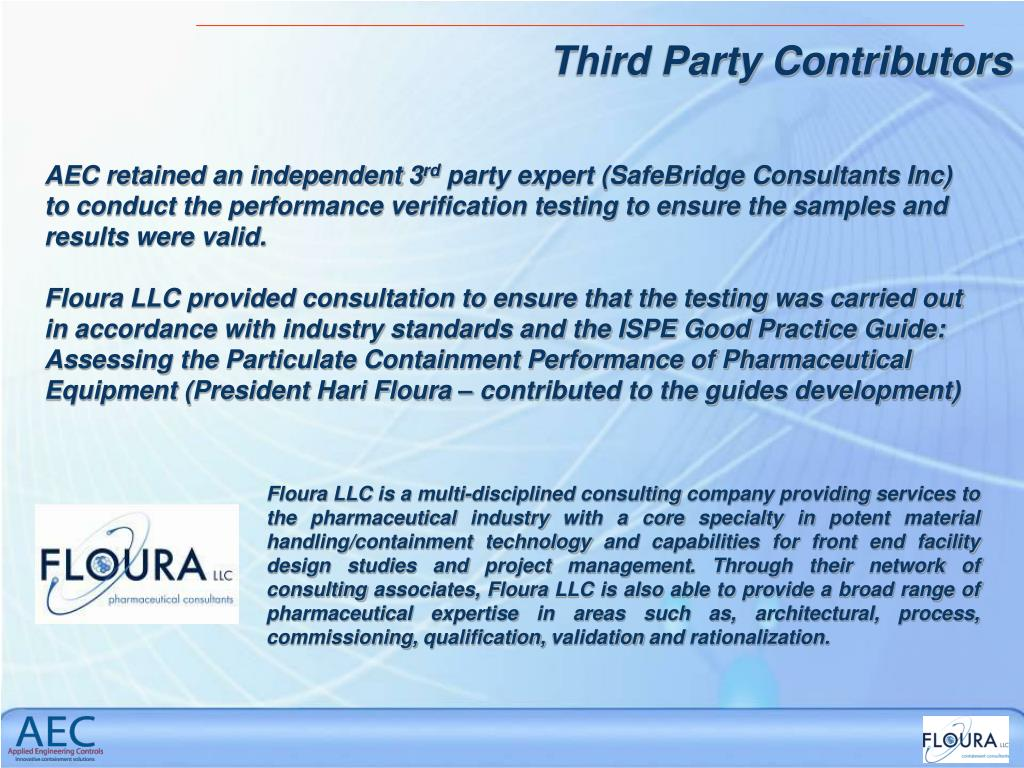 Floura LLC is a multi-disciplined consulting company providing services to the pharmaceutical industry with a core specialty in potent material handling/containment technology and capabilities for front end facility design studies and project management. Through their network of consulting associates, Floura LLC is also able to provide a broad range of pharmaceutical expertise in areas such as, architectural, process, commissioning, qualification, validation and rationalization.