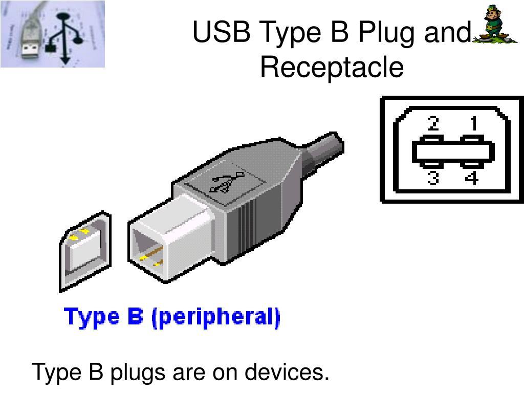 USB Type B Plug and Receptacle