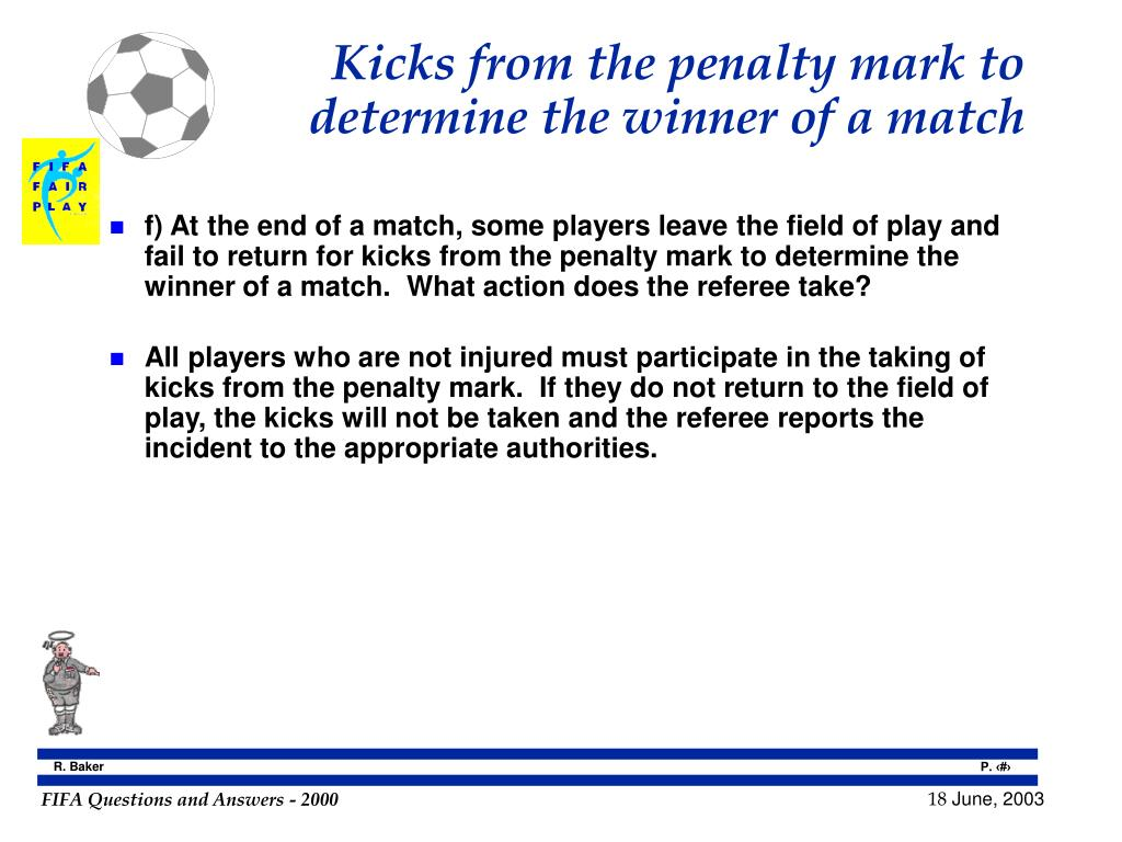 Kicks from the penalty mark to determine the winner of a match