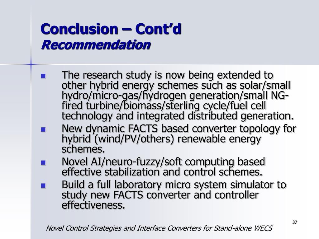 Conclusion – Cont'd