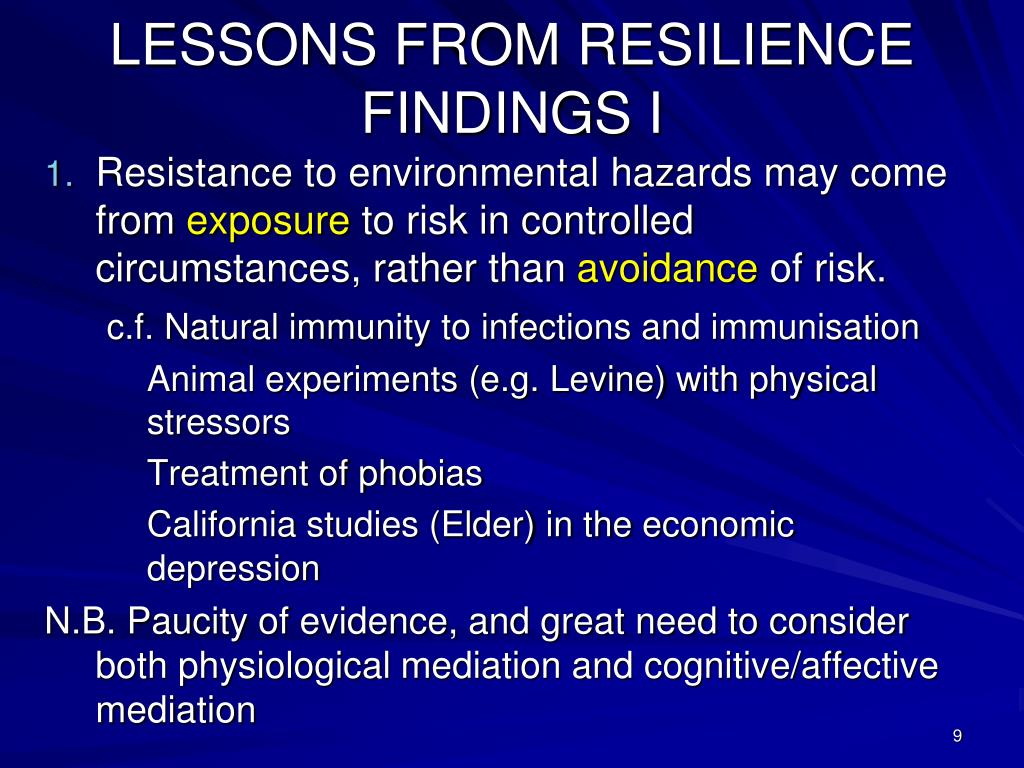 LESSONS FROM RESILIENCE FINDINGS I