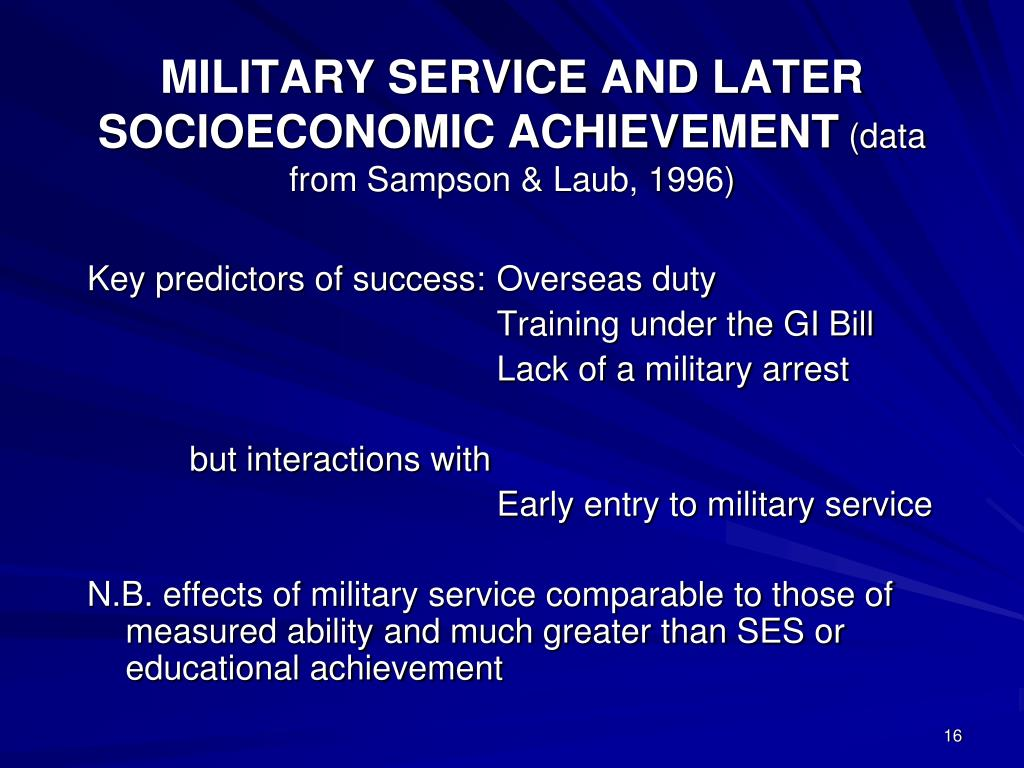 MILITARY SERVICE AND LATER SOCIOECONOMIC ACHIEVEMENT