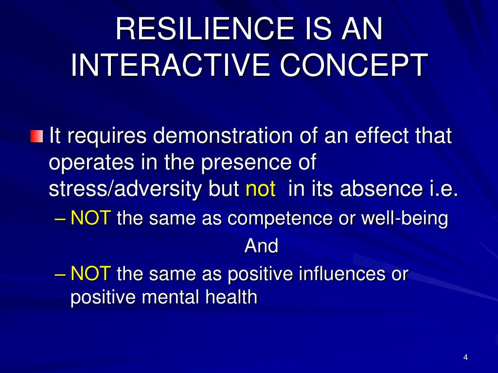RESILIENCE IS AN INTERACTIVE CONCEPT