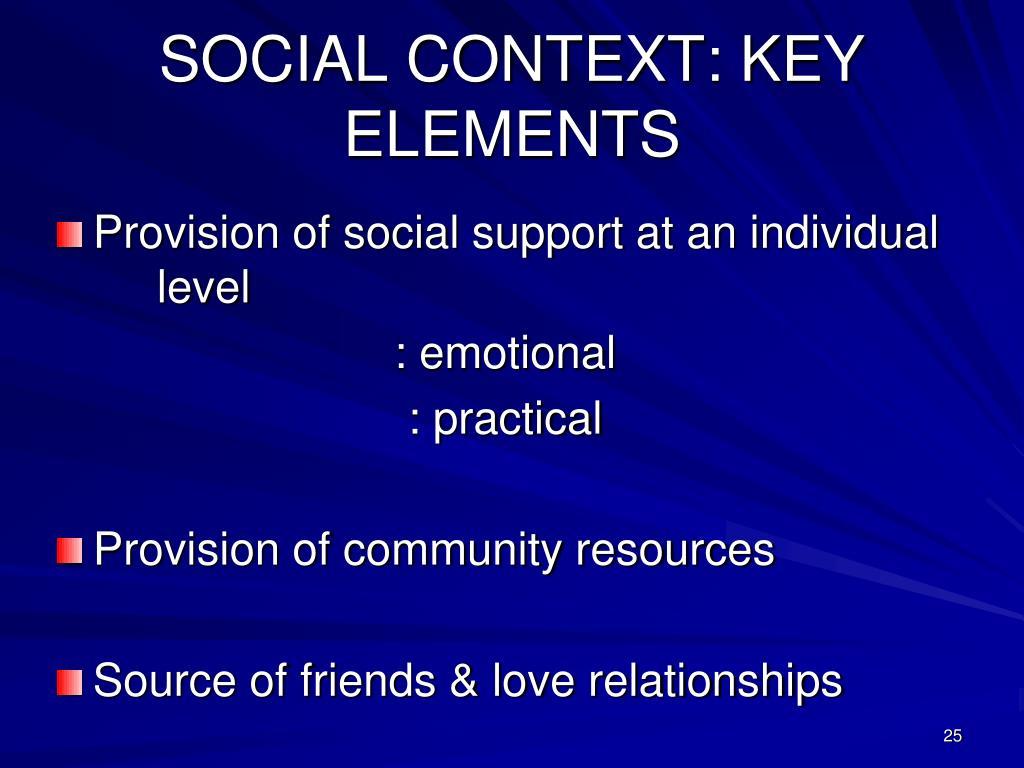 SOCIAL CONTEXT: KEY ELEMENTS