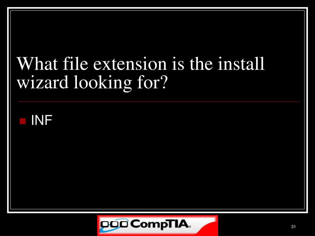 What file extension is the install wizard looking for?