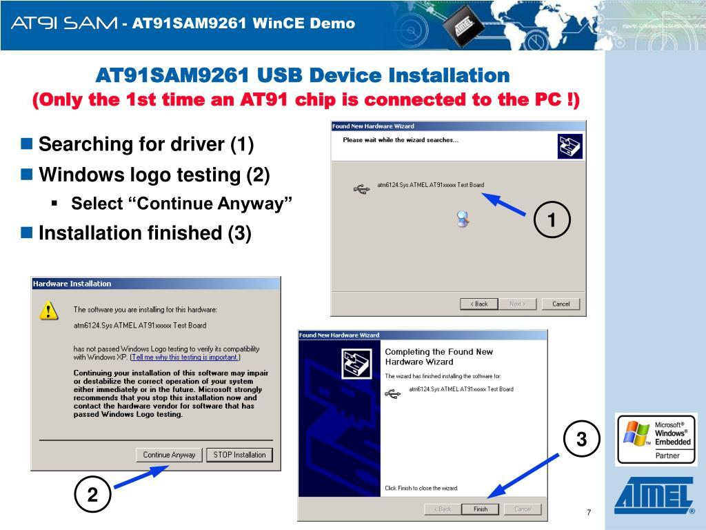AT91SAM9261 USB Device Installation