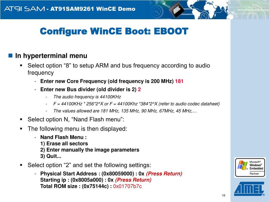 Configure WinCE Boot: EBOOT
