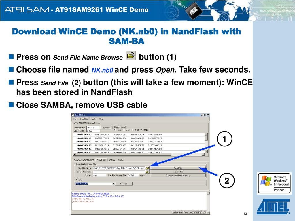 Download WinCE Demo (NK.nb0) in NandFlash with SAM-BA