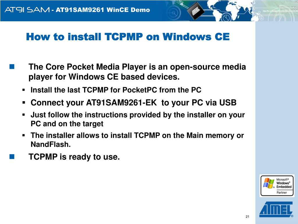 How to install TCPMP on Windows CE