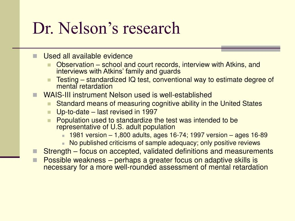 Dr. Nelson's research