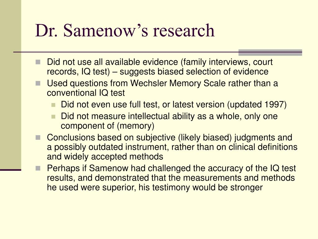 Dr. Samenow's research