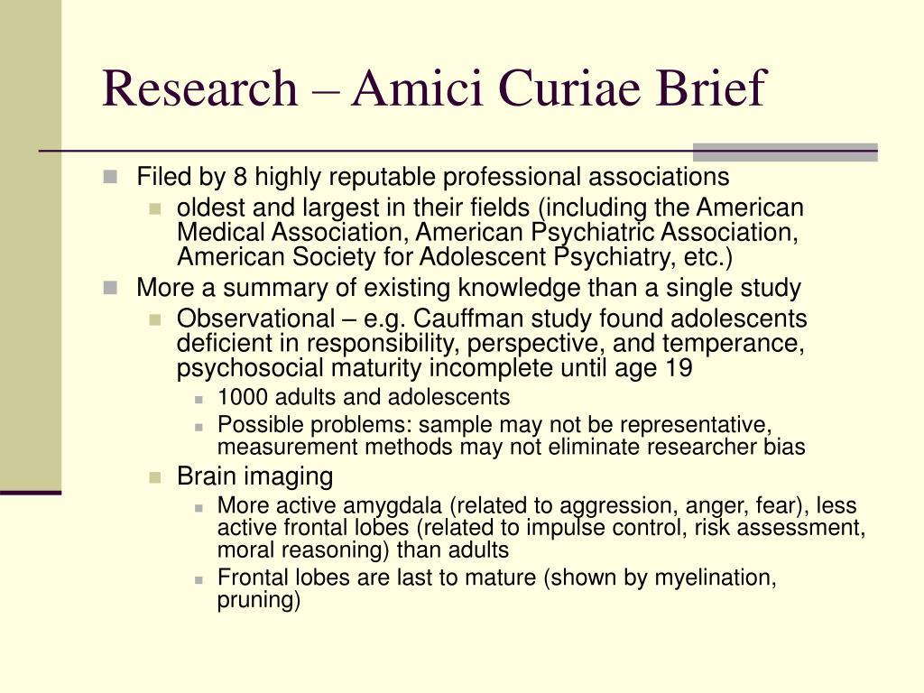 Research – Amici Curiae Brief