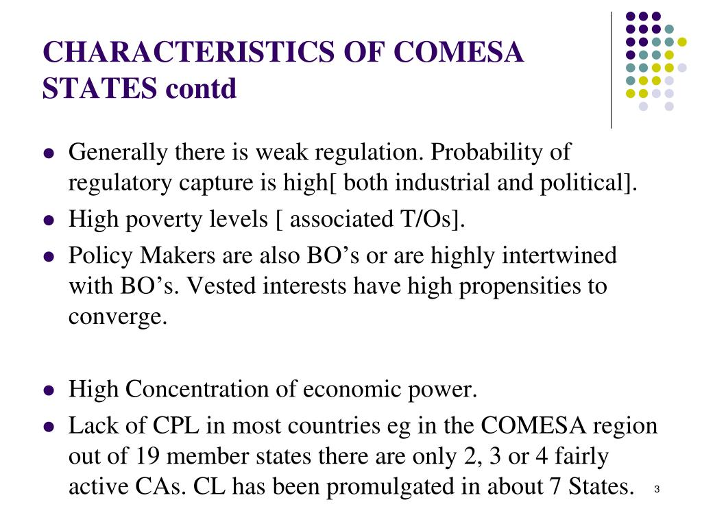 CHARACTERISTICS OF COMESA STATES contd