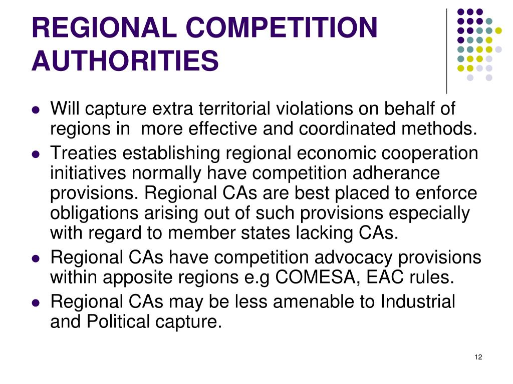 REGIONAL COMPETITION AUTHORITIES