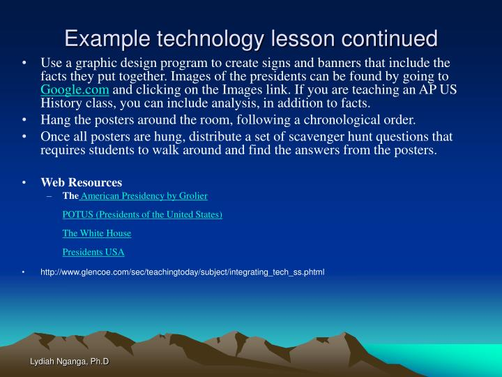 Example technology lesson continued