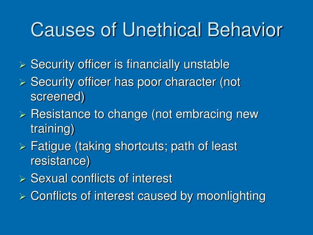Causes of Unethical Behavior