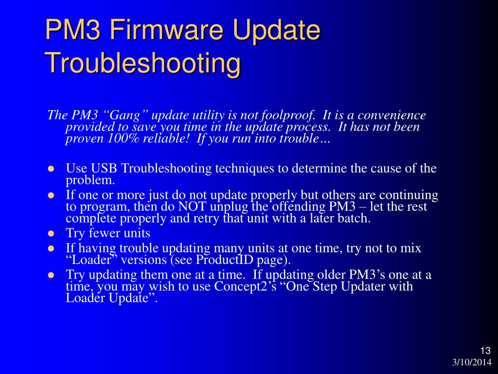 PM3 Firmware Update Troubleshooting