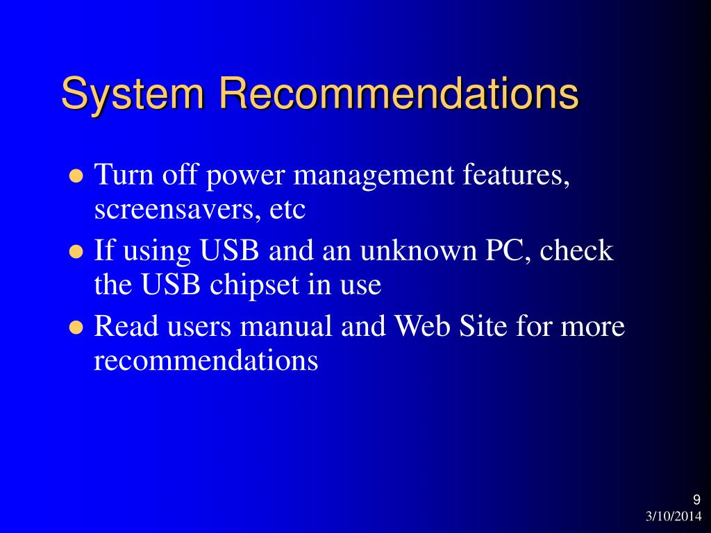 System Recommendations