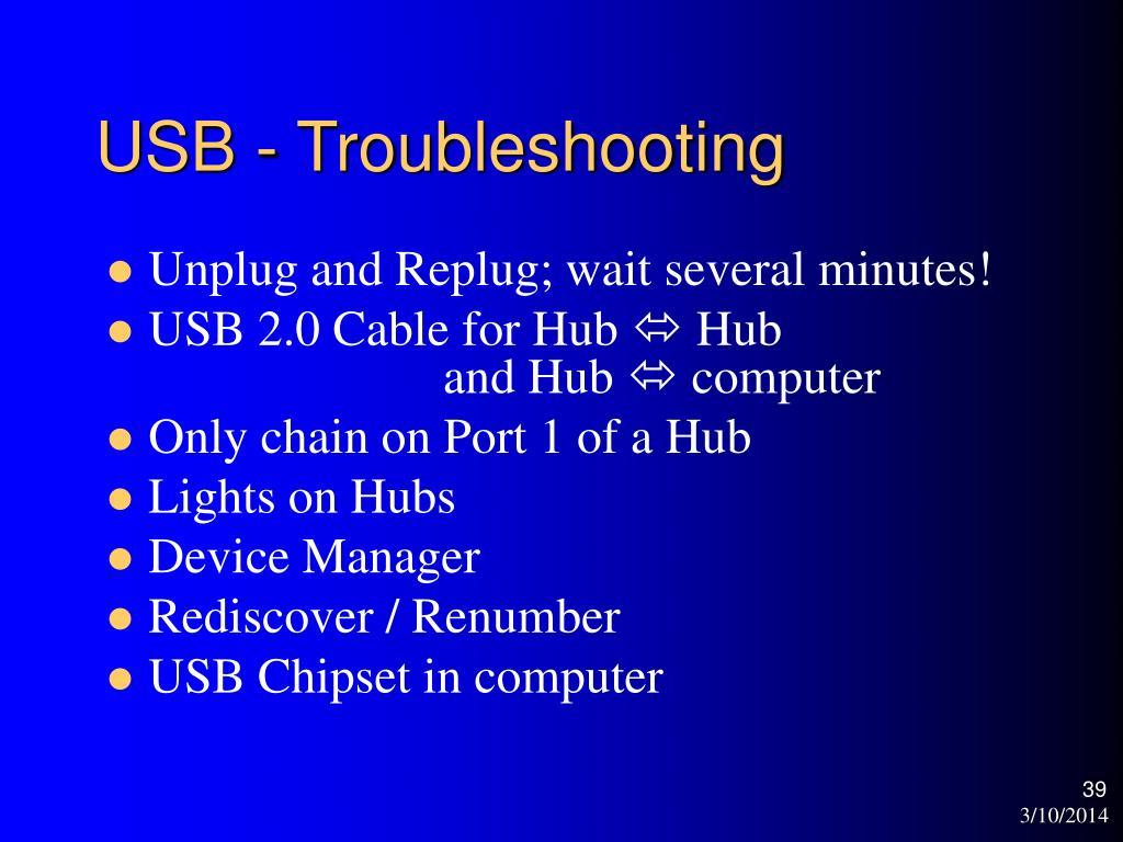 USB - Troubleshooting