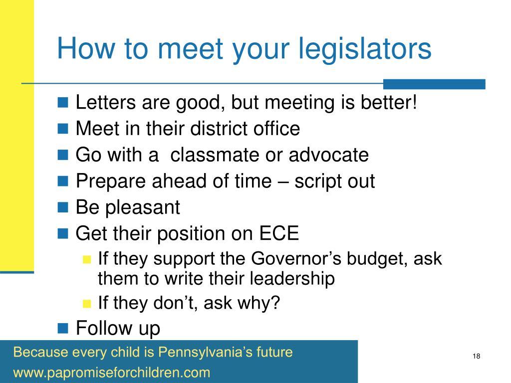 How to meet your legislators