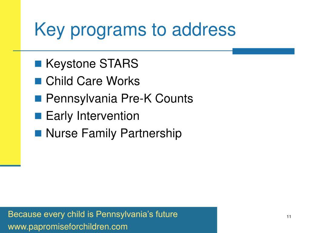 Key programs to address
