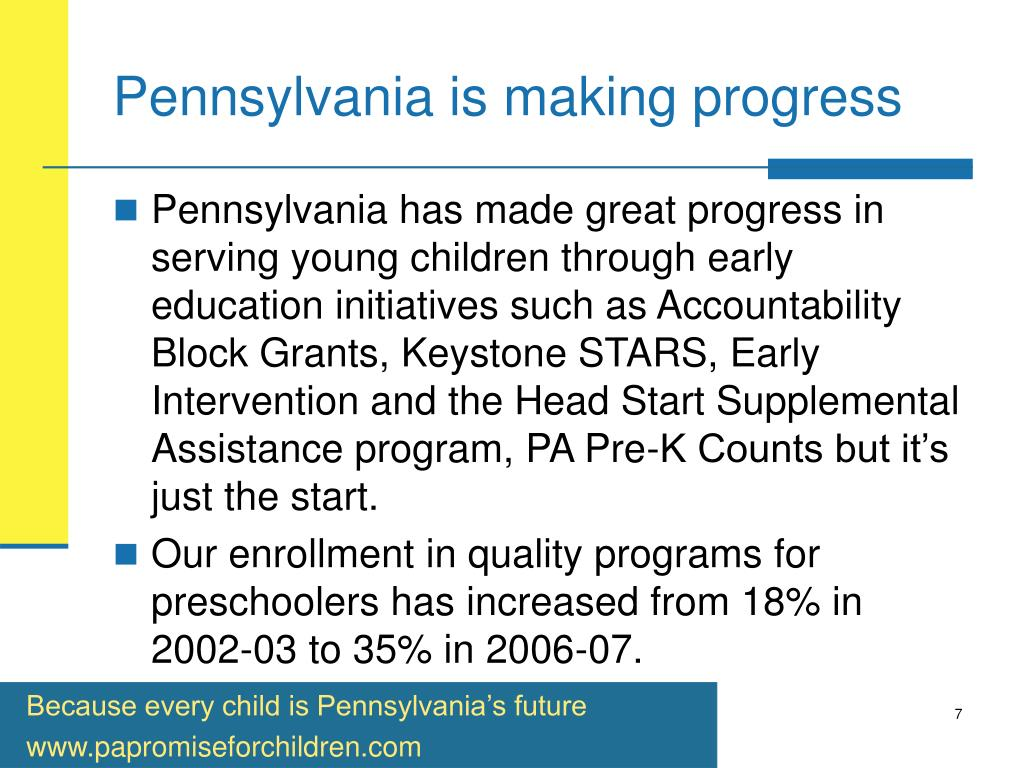 Pennsylvania is making progress