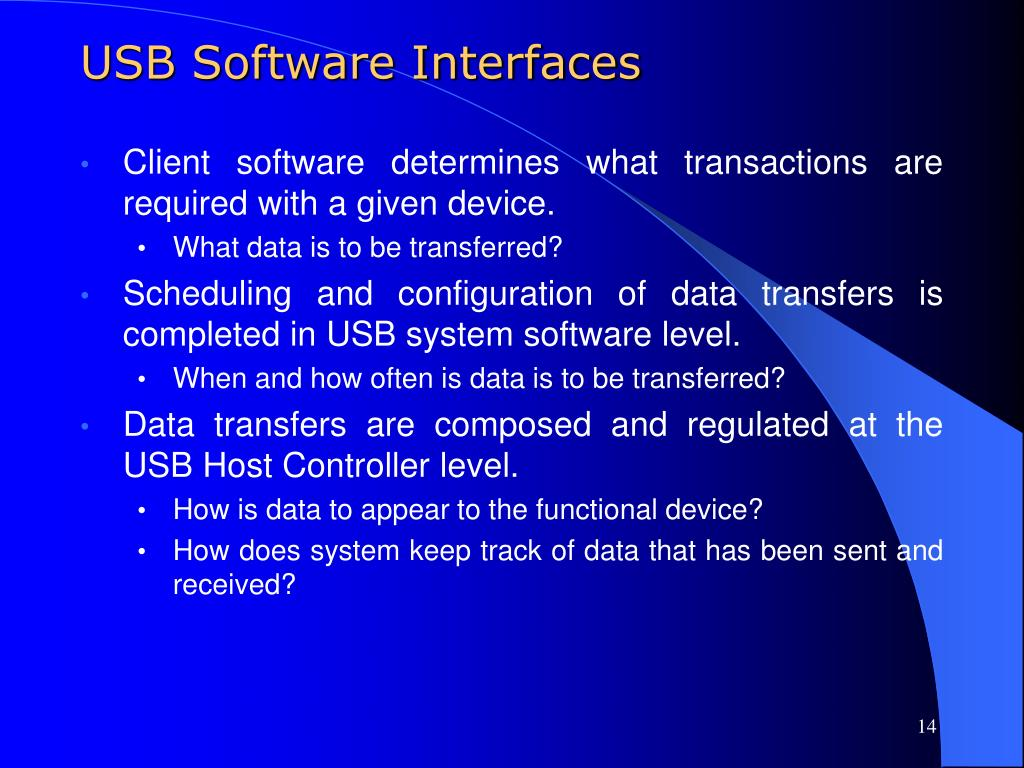 USB Software Interfaces