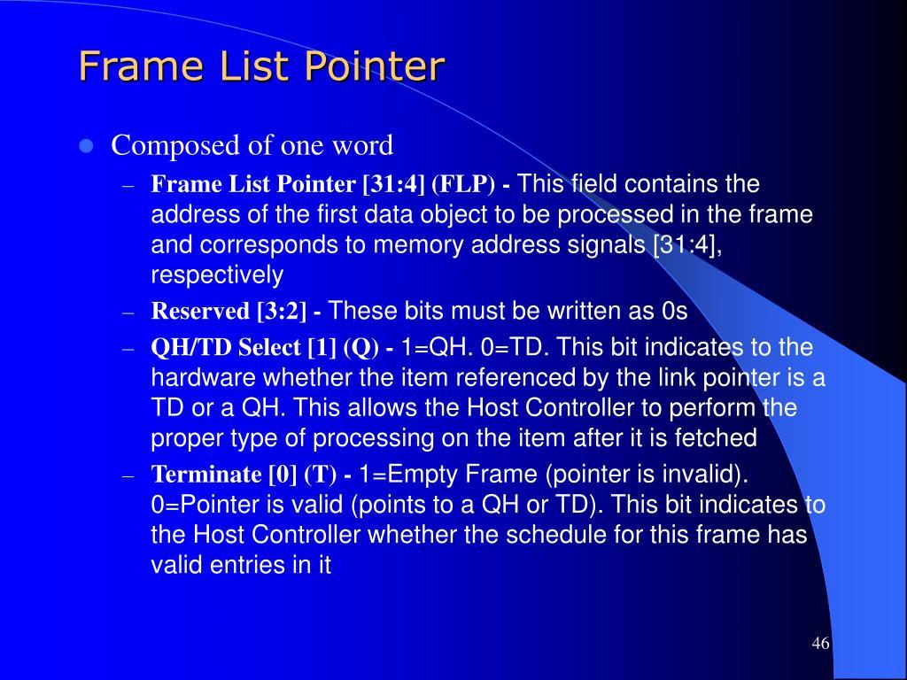 Frame List Pointer