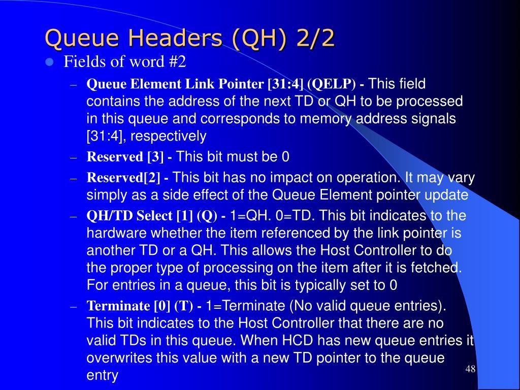 Queue Headers (QH) 2/2