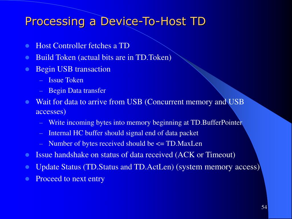 Processing a Device-To-Host TD