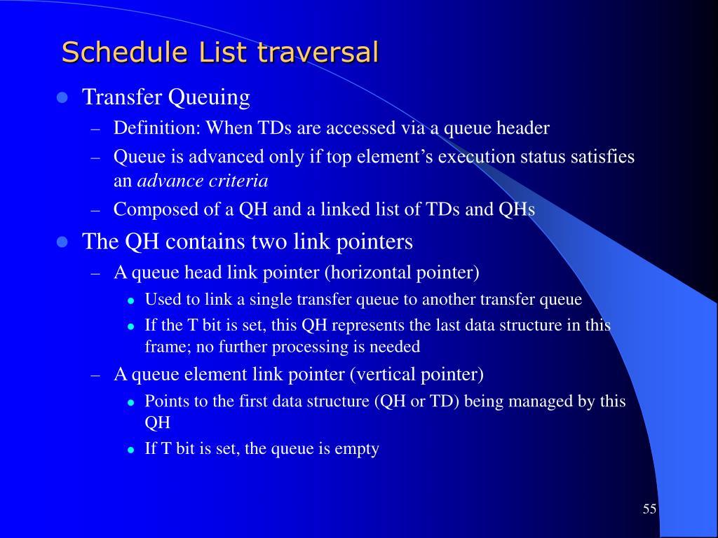 Schedule List traversal
