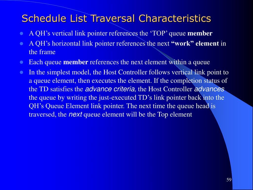 Schedule List Traversal Characteristics