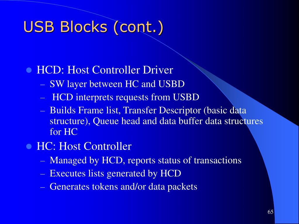 USB Blocks (cont.)