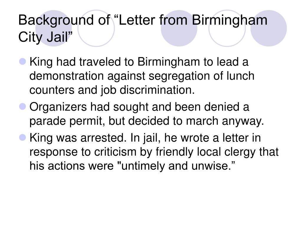letter from birmingham city jail and King wrote the famous letter from a birmingham jail on april 16, 1963  and  despite martin luther king jr's declaration that the city was the.