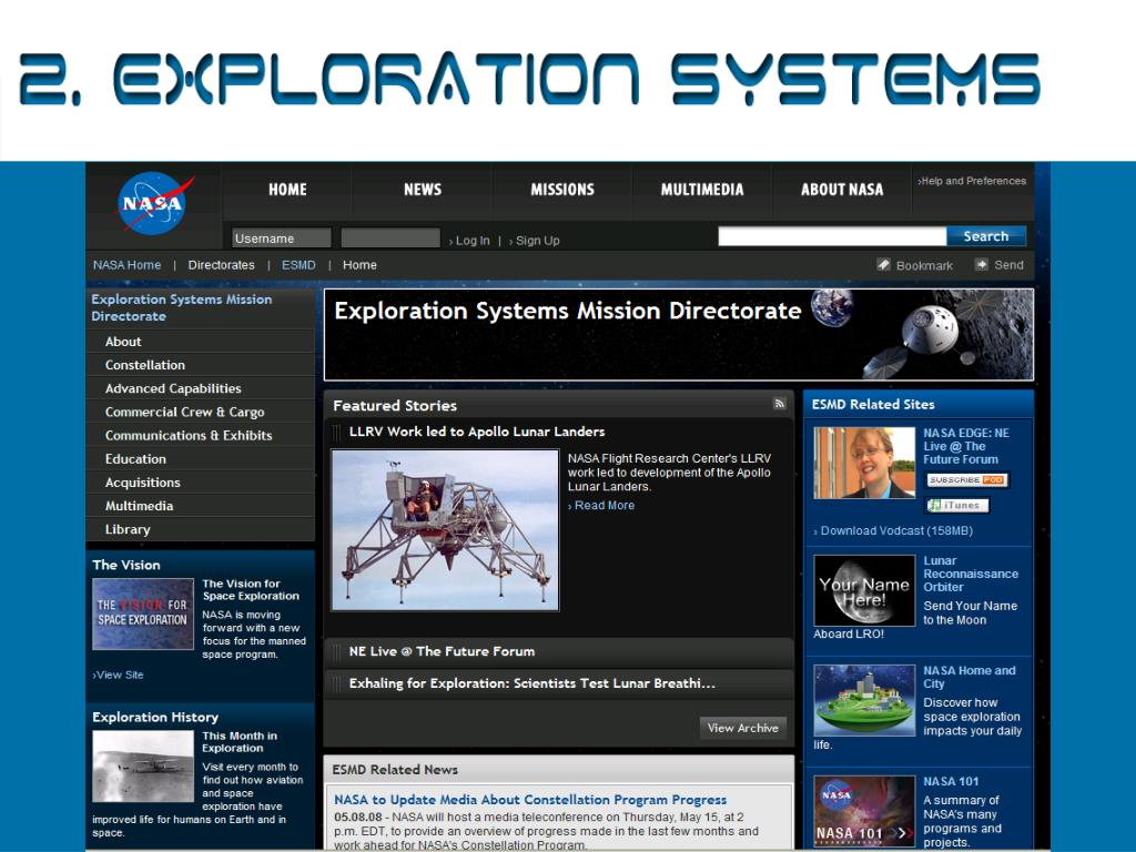 2. Exploration Systems