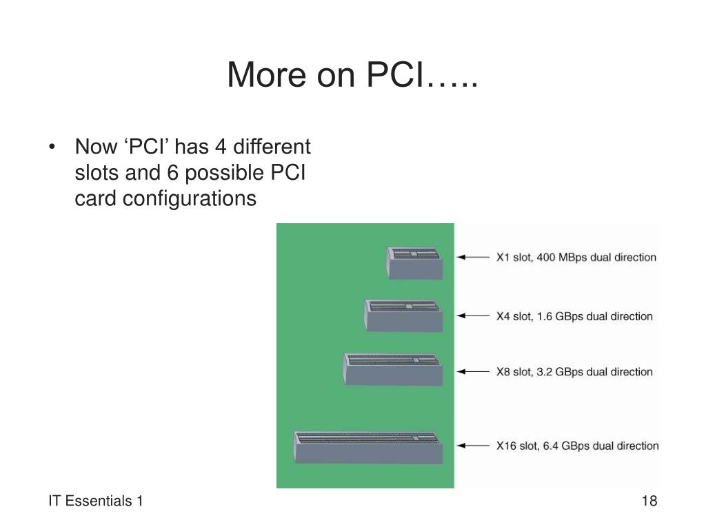 More on PCI…..