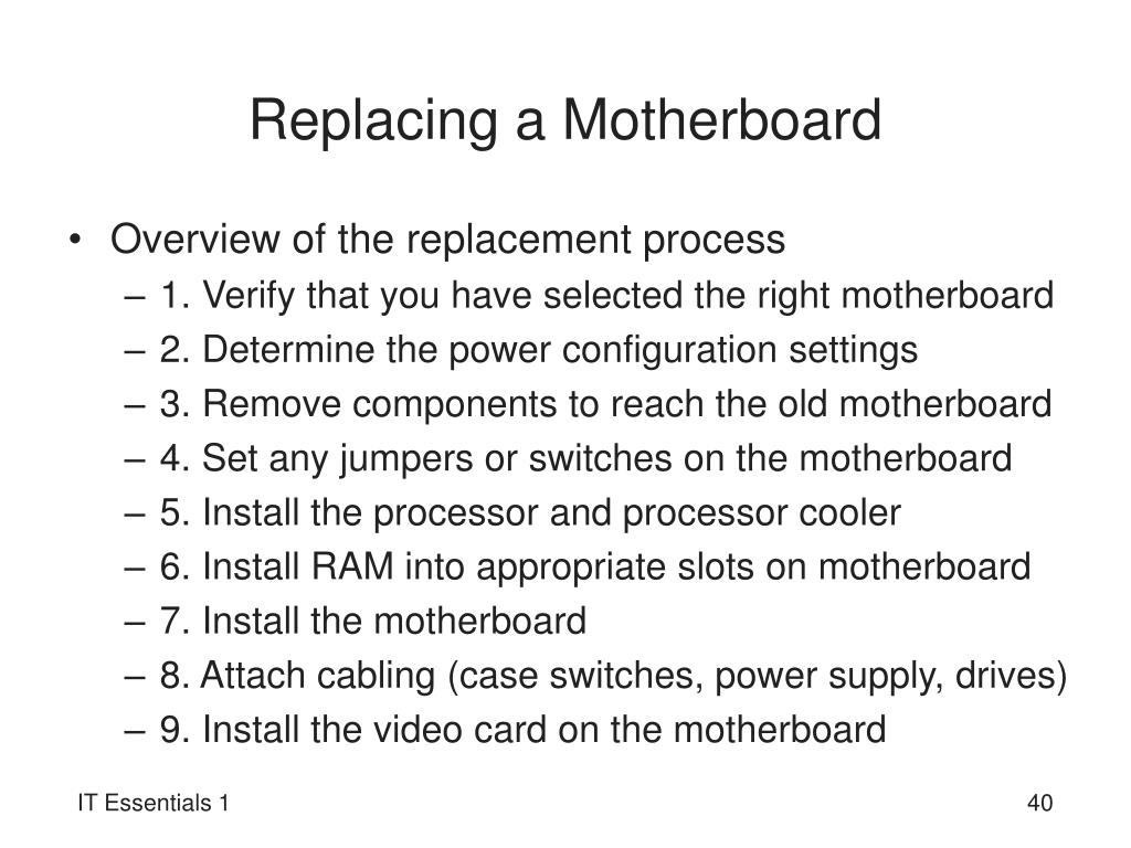 Replacing a Motherboard
