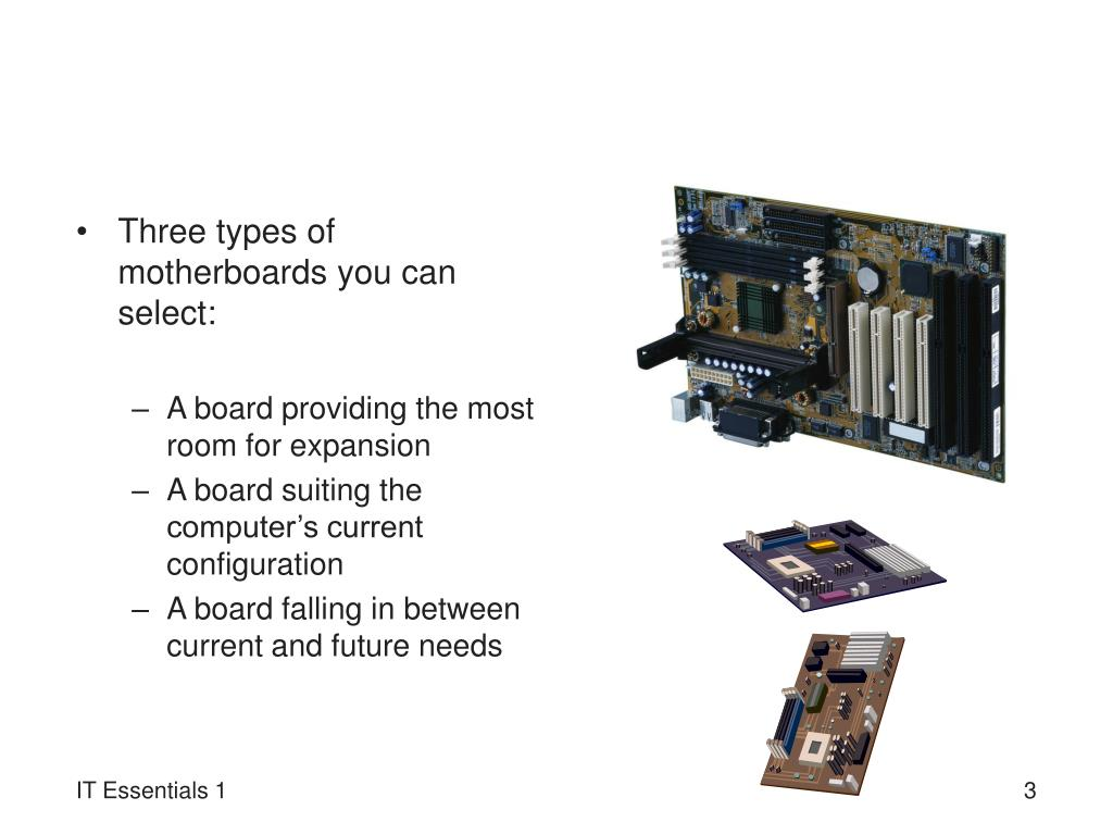 Three types of motherboards you can select: