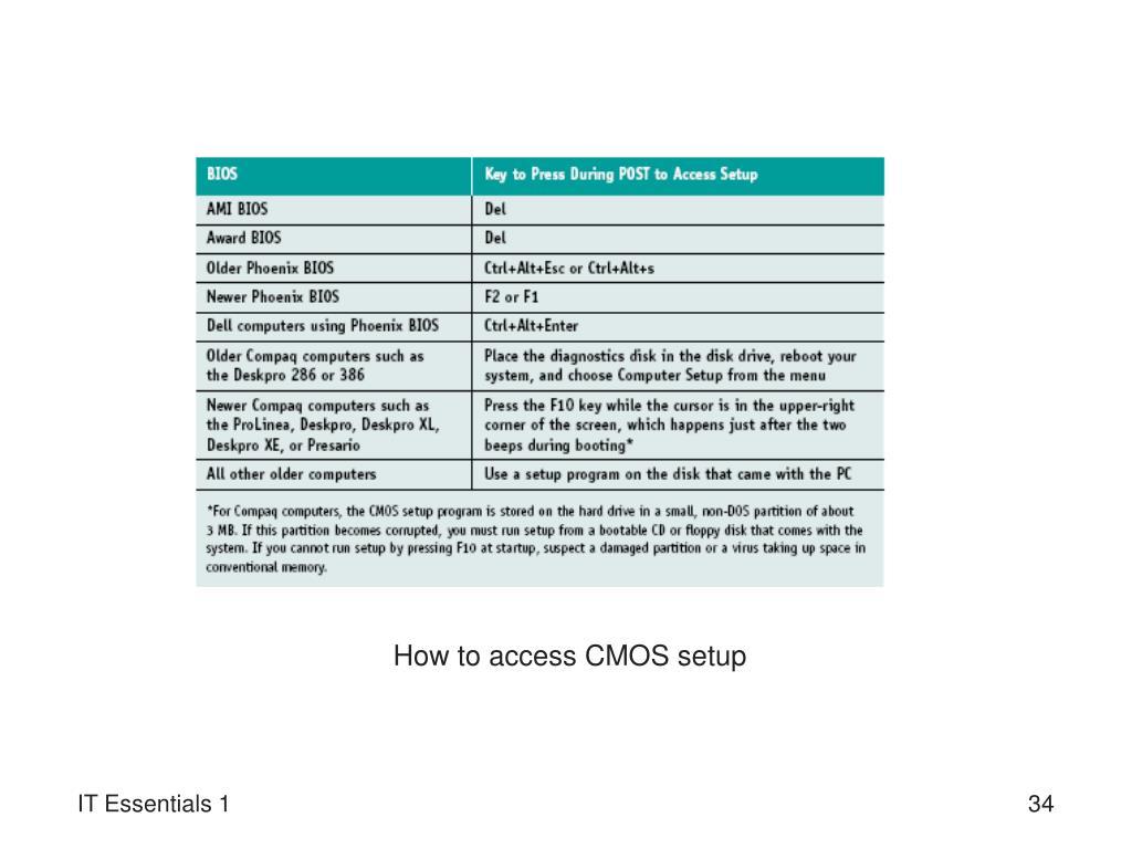 How to access CMOS setup