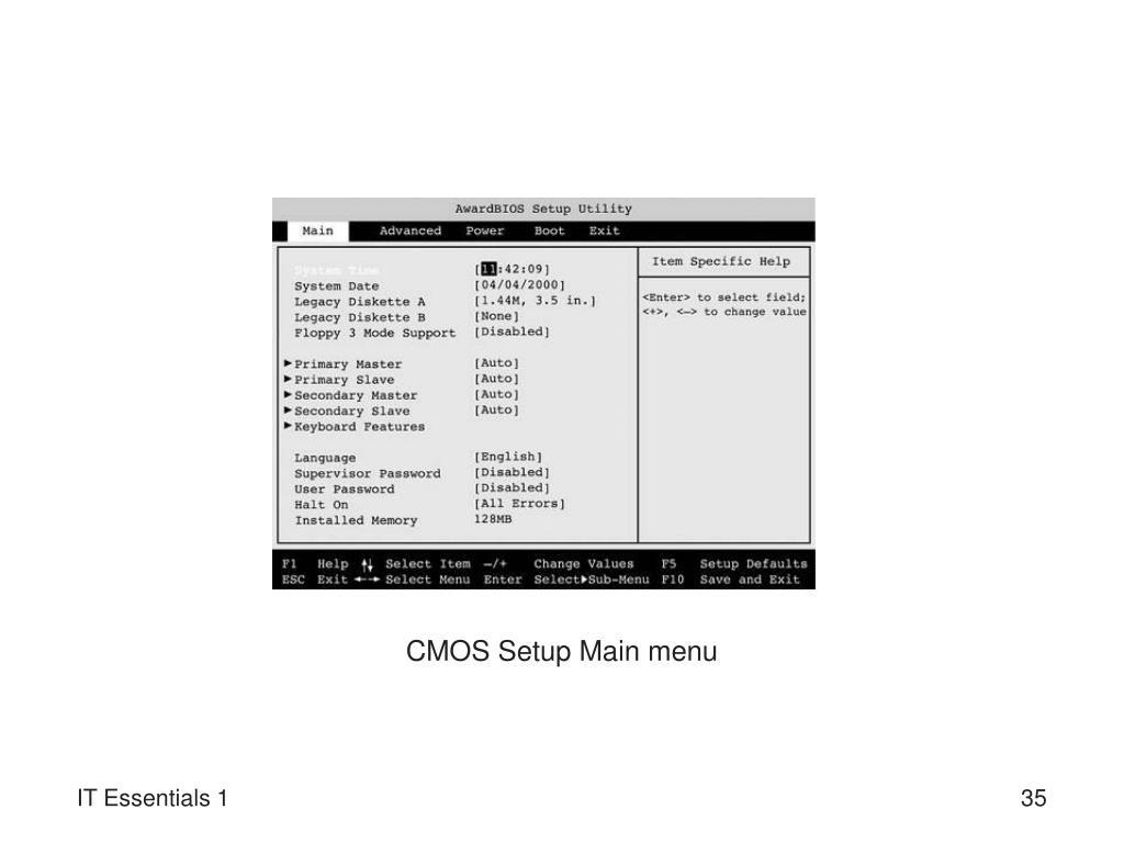 CMOS Setup Main menu
